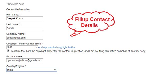 Fill contact information in DMCA