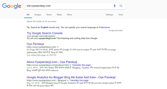 Know Indexed post in Google