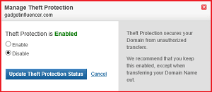 Disable Theft Protection