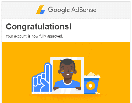 Adsense approval message
