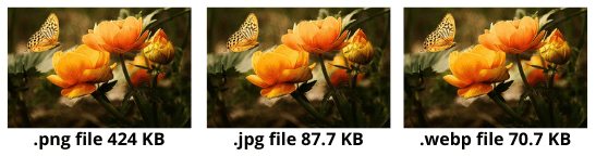 Compare png, jpg and webp file